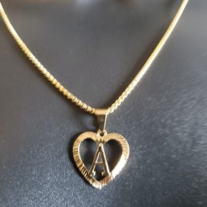 """Gold Filled Heart Letter A 20"""" Long Chain Necklace"""